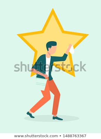 Narcissism and Egoism, Man Polishing Star or Ego Stock photo © robuart