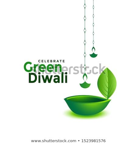 Stock photo: creative diwali diya design for green deepawali concept