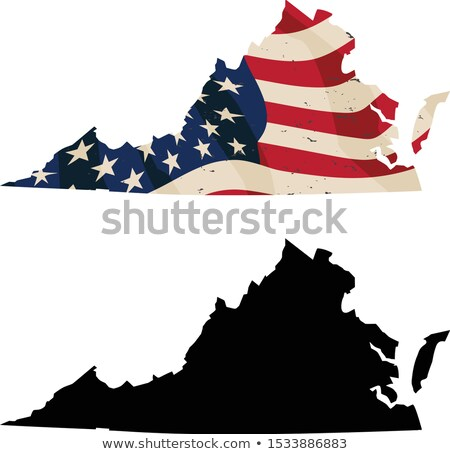 virginia with aged usa flag embedded and black silhouette isolated vector illustration stock photo © jeff_hobrath