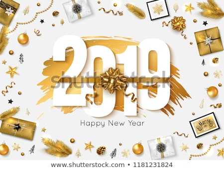 Stock photo: Christmas and New Year card of holiday gift box