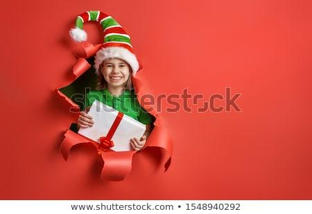 Santa's elf on bright color background Stock photo © choreograph