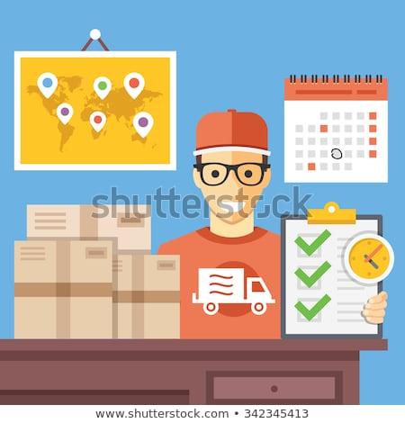 Postkantoor werkplek vervoer bedrijf icon vector Stockfoto © pikepicture