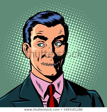 Поп-арт человека рот заблокированный цензура тайну Сток-фото © studiostoks