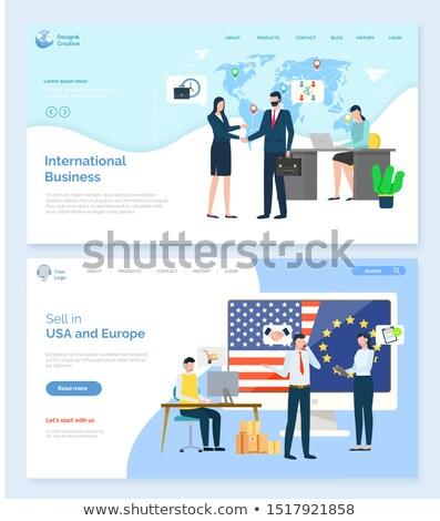Wereldwijd handel verkopen USA eu vector Stockfoto © robuart