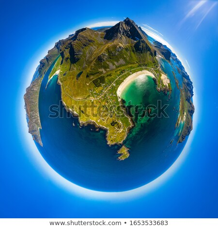 Foto stock: Mini Planet Lofoten Is An Archipelago In The County Of Nordland