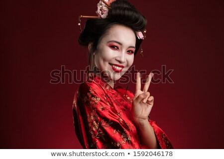 изображение великолепный гейш женщину Японский кимоно Сток-фото © deandrobot