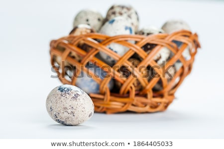Basket of white dotted Easter eggs in brown wicker basket Stock photo © dash