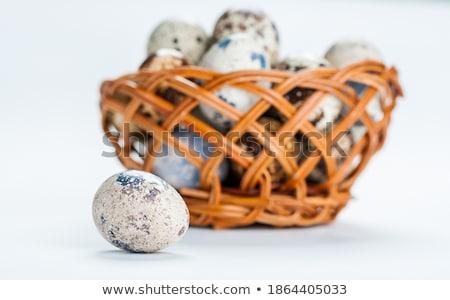 Sepet beyaz noktalı paskalya yumurtası kahverengi Stok fotoğraf © dash