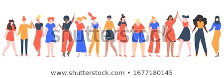 Teenagers Holding Hands Isolated Cartoon People Stock photo © robuart