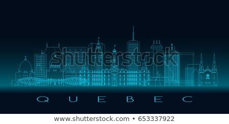 Schets Quebec skyline Blauw gebouwen Stockfoto © ShustrikS