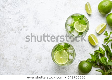 Two Mojito cocktail with lime and mint in highball glass Stock photo © olira