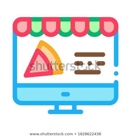 Pizza helyszín rendelés ikon vektor skicc Stock fotó © pikepicture