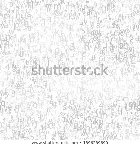 Abstract gray chaotic complicated crypto symbols on white, data encryption binary code concept Stock photo © evgeny89