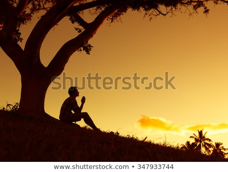 meditation under sunset Stock photo © Ansonstock