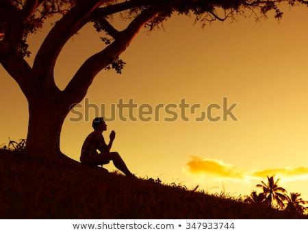 meditation under sunset stock photo © Ansonstock