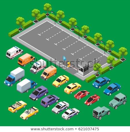 Parking samochodu izometryczny elementy wektora Zdjęcia stock © pikepicture