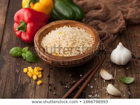 ボウル 長い 穀物 バスマティ米 野菜 ストックフォト © DenisMArt