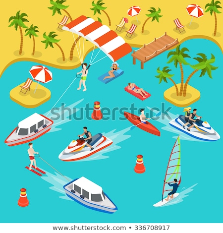 Narciarskie resort wakacje izometryczny wektora Zdjęcia stock © pikepicture