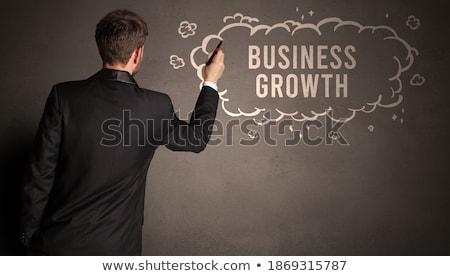 ビジネスマン 図面 雲 碑文 受動 収入 ストックフォト © ra2studio