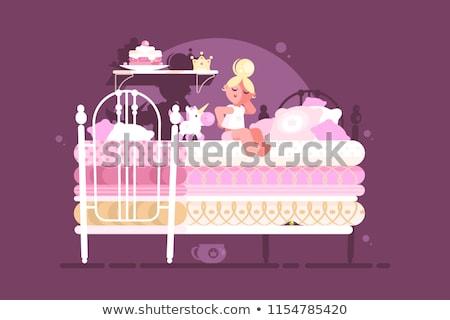Piccolo principessa ragazza scomodo letto illustrazione Foto d'archivio © jossdiim
