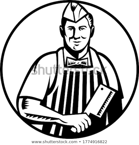 Butcher With Meat Cleaver Knife Front View in Circle Woodcut Black and White Stock photo © patrimonio