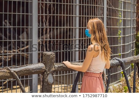 若い女性 動物園 医療 マスク 公共 コロナウイルス ストックフォト © galitskaya