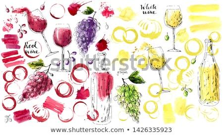 Goblet red wine, white grape Stock photo © RuslanOmega