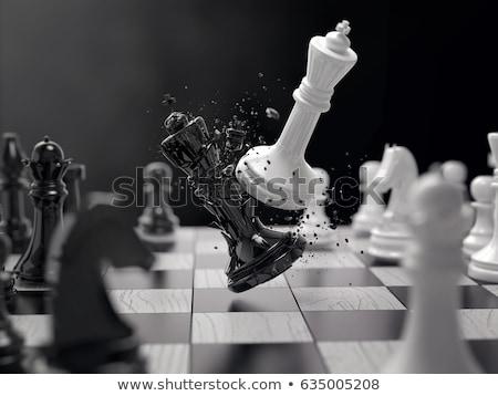 xeque-mate · xadrez · dedo · empurrando · rei - foto stock © chrisroll