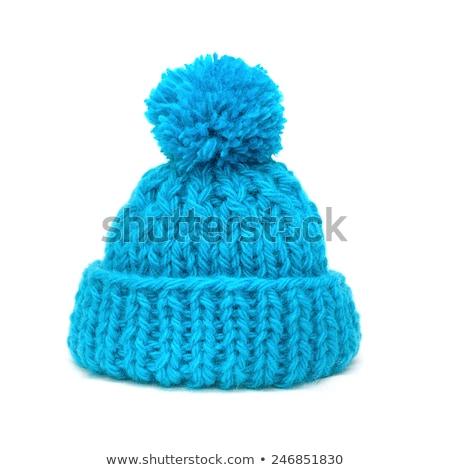 azul · de · punto · sombrero · aislado · blanco · tejido - foto stock © ruslanomega