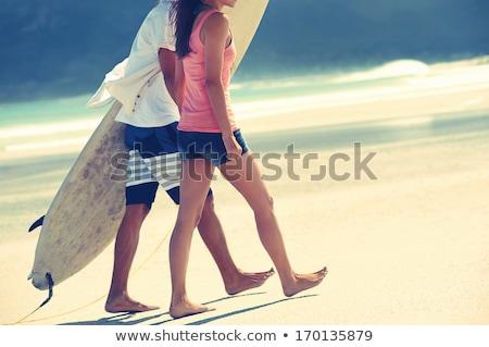 Adam yürüyüş plaj sessiz seksi vücut Stok fotoğraf © pedromonteiro