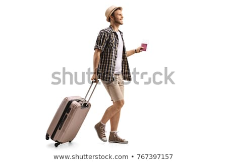 Smiling Caucasian Man Traveling With Suitcase Passport Isolated  Stock photo © Qingwa