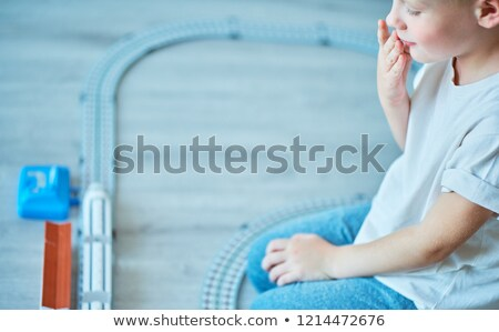 Stock photo: sideways wooden toy train