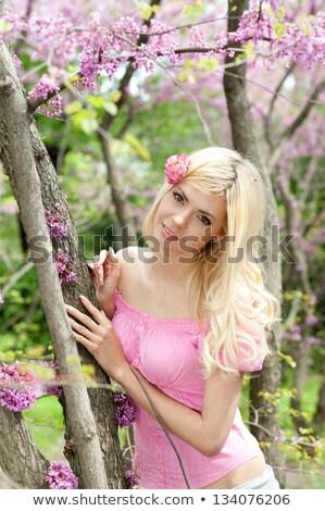 Gyönyörű fiatal hölgy pózol kert fiatal nő Stock fotó © dotshock