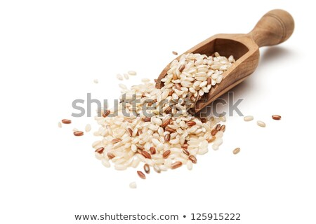 marrón · arroz · cucharón · aislado · blanco - foto stock © happydancing