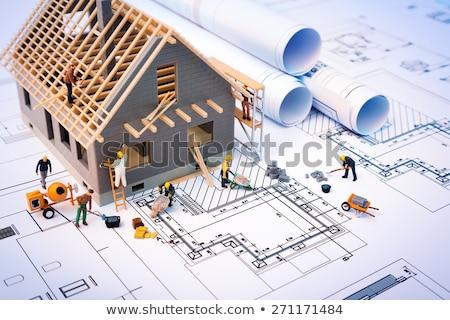 munka · építkezés · házak · nő · gyermek · kert - stock fotó © xedos45