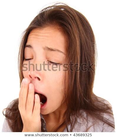 Stock photo: Yawning tired woman, caucasian model isolated on white backgroun