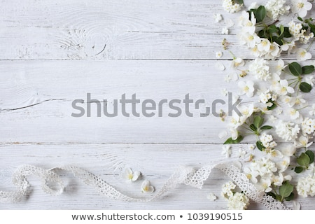 wooden background with white lace frame  Stock photo © inxti