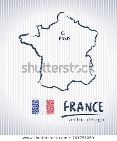 フランス 地図 フラグ 描画 黒板 中国 ストックフォト © Ansonstock