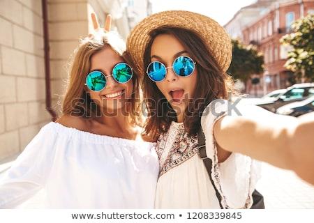 dois · bela · mulher · vestidos · retrato · menina - foto stock © Pilgrimego