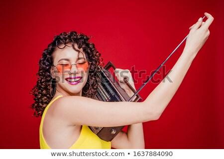 rádio · morena · ombro · mulher · vermelho · comunicação - foto stock © photography33