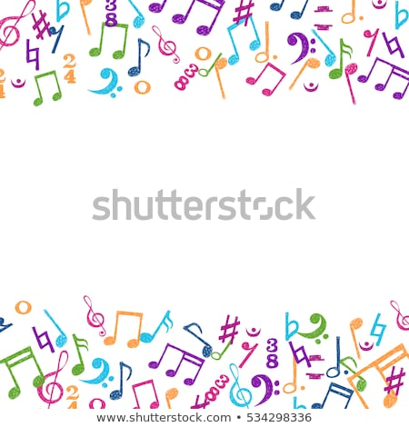 colorful musical notes frame stock photo © artida