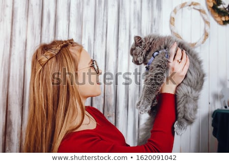 Happy young blonde girl and grey cat Stock photo © vlad_star