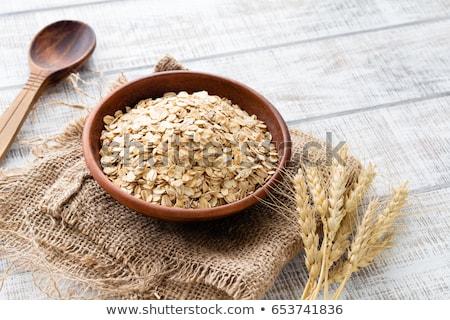 Haver maaltijd kom houten tafel gezondheid witte Stockfoto © oksix