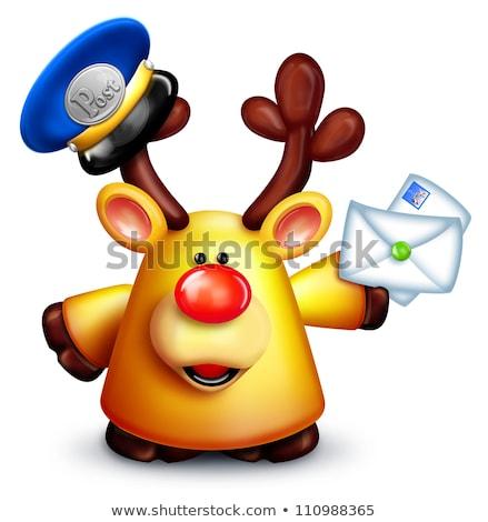 hóbortos · rénszarvas · postás · levelek · szarvas · karácsony - stock fotó © komodoempire