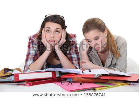 two teenage friends revising stock photo © photography33