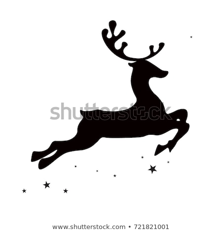 Reindeer Christmas Silhouettes and Isolated on White Stock photo © Kaludov