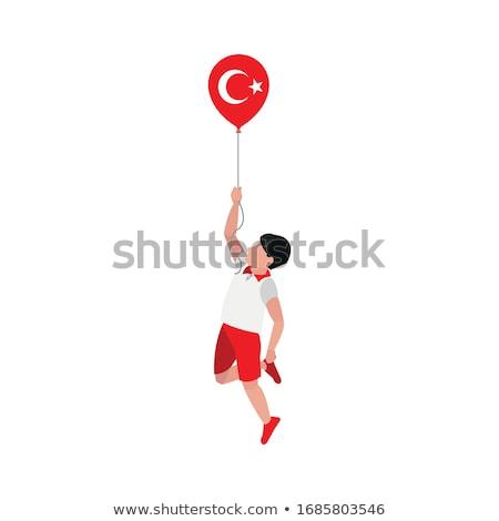 Rood · ballonnen · turks · vlag · witte - stockfoto © experimental