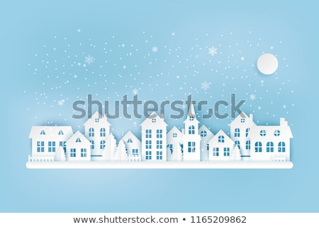 winter · dorp · vector · afbeelding · tekening · grafische - stockfoto © kariiika
