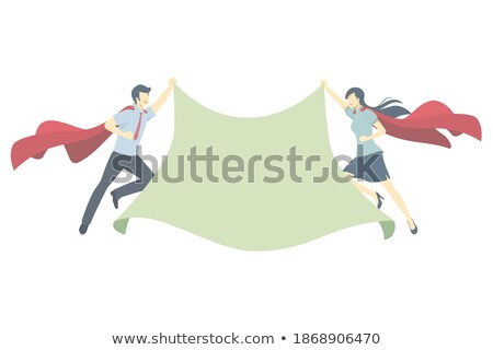 Stock photo: Super Girl Hero Holding White Sign