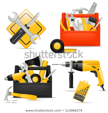 screwdriver toolbox with set of bits, pliers and measuring tape Stock photo © artush